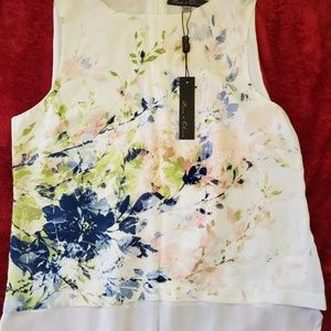 Beautiful floral top small sheer rose and olive